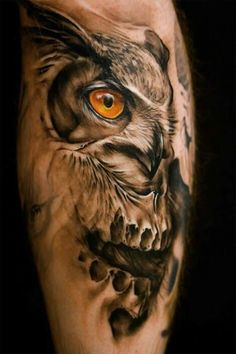 The owl is the wisest of all animals. If you're opting for Owl Tattoos, consider the right ink design and tattoo placement. Enjoy these stylish owl tattoos! Owl Skull Tattoos, 3d Tattoos, Animal Tattoos, Love Tattoos, Beautiful Tattoos, Black Tattoos, Body Art Tattoos, Tattoos For Guys, Tattoo Owl