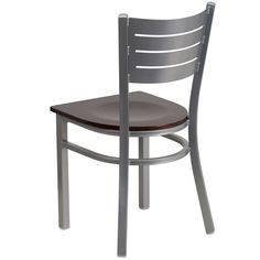 Silver Slat Back Metal Restaurant Chair with Walnut Wood Seat, BFDH-90412-SLV-WAL by T & D Restaurant Equipment | BizChair.com  $24