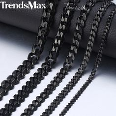 Men's Necklace Stainless Steel Cuban Link Chain Black Silver, Gold Necklaces For Men - Hip Jewelry Gold Necklace For Men, Black Chain Necklace, Necklace Types, Men Necklace, Gold Necklaces, Necklaces For Men, Chain Necklaces, Mens Necklace Pendants, Diamond Necklaces
