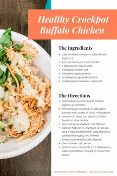healthy crockpot buffalo chicken; healthy crockpot meals; crockpot shredded chicken; faster way to fat loss approved meals Buffalo Chicken Quinoa, Shredded Buffalo Chicken, Buffalo Chicken Recipes, Crockpot Meat, Healthy Crockpot Recipes, Yummy Recipes, Lunches And Dinners, Meals, Dairy Free Cheese