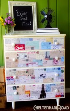 Vintage Postcard Dresser Makeover-I'm thinking with fairy tale pages instead of post cards