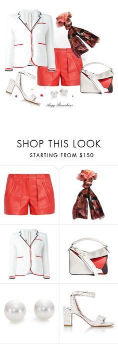"""Leather Shorts"" by angy-beurskens ❤ liked on Polyvore featuring A.L.C., Valentino, Thom Browne, Loewe, Mikimoto and Tabitha Simmons"