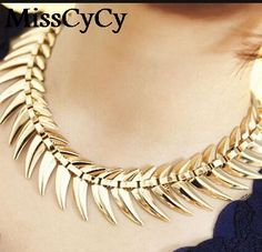 MissCyCy 2016 Arrival Fishbone Big Fish Bones Clavicle Wild Long Section Chain Necklace For Women