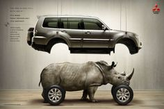 The power of the car is explained by the representation of this powefull animal