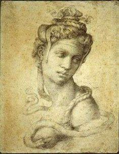 CLEOPATRA immaginata da Michelangelo in uno straordinario disegno (1535 circa) ora esposto nel Museo civico di Bassano del Grappa | fino al 31 agosto 2014.