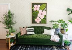 Bohemian Jungle Studio: One Room Challenge Reveal - That tufted sofa is from Walmart