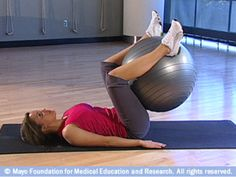 Mayo Clinic's Core Strength exercises with stability ball - I love doing plank on my stability ball. The heel bridges are tough! Core Strength Exercises, Stability Ball Exercises, Core Stability, Strength Workout, Strength Training, Core Exercises, Inner Leg Workouts, Daily Workouts, Mayo Clinic Diet