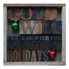 Peace be with you poster #Christmasposter, #Christmaswords, #oldwoodtype, #holidayposter, #zazzle