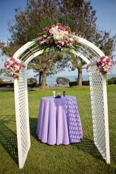 Wedding arch from Apex Tent and Party Rentals.