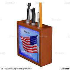 US Flag Desk Organizer