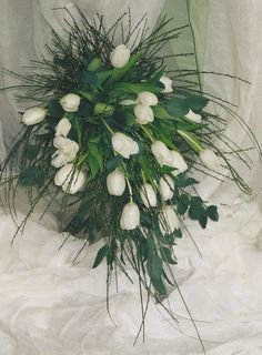 Fresh tulip over arm bouquet Bridal Bouquets, Tulips, Wedding Stuff, Christmas Wreaths, Arms, Holiday Decor, Flowers, Wedding Bouquets, Royal Icing Flowers