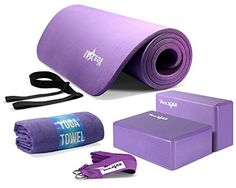 Yes4All Yoga Starter Set Kit  Includes NBR Exercise Mat Yoga Block Yoga Towel  Yoga Strap  Choose Your Color Purple Set ** Learn more by visiting the image link.