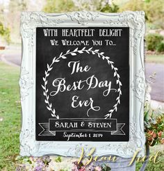 The Best Day Ever • Welcome To Our Wedding • Personalized Wedding Chalkboard Sign