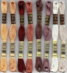 Ribbon Embroidery DMC 816 six-stranded embroidery floss - DMC six-stranded embroidery floss 800 series. Embroidery Bracelets, Dmc Embroidery Floss, Learn Embroidery, Silk Ribbon Embroidery, Cross Stitch Embroidery, Embroidery Patterns, Hand Embroidery, Cross Stitch Patterns, Cross Stitches