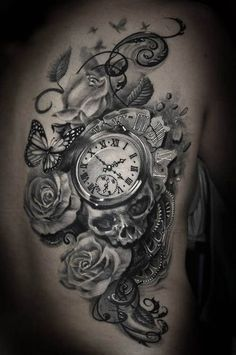 Clock, skull, roses and butterfly tattoo #TattooArt
