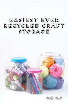 Check out my secret for getting those labels off plastic containers and displaying your crafty goods - with the easiest ever recycled craft storage bins.