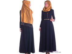 Tesettür Elbise WB 5460-03 Lacivert #tesetturgiyim #tesettur #sefamerve #hijab