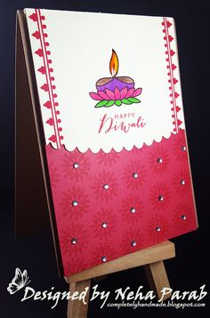 Today I'm back again with my installment for Diwali theme card. If you have just dropped all my Diwali cards here. Diwali Greeting Cards, Diwali Greetings, Festive Crafts, Diy And Crafts, Card Crafts, Diy Cards, Handmade Cards, Handmade Gifts, Diwali Card Making