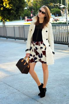 STYLE INSPIRATIONS -- Tulip Print Skirt >> Sunglasses: George, Gina and Lucy. Body: ASOS. Skirt: Marc by Marc Jacobs. Trench: Bebe (old, similar here). Bag: Louis Vuitton. Boots: ASOS.