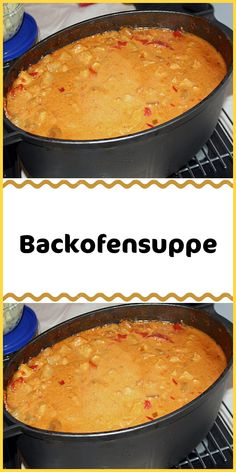 Backofensuppe Einfache Rezepte Ingredients 1000 g pork cut into strips 500 g diced onion (s) 1 small Curry Ketchup, Wedding Soup, Stuffed Mushrooms, Stuffed Peppers, Party Snacks, Tzatziki, Oven, Brunch, Food And Drink