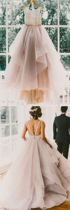 Princess Long Party Dress,Scoop Backless Ball Gown, Lace Prom Dress,Wedding Dresses,Princess bridal dress,wedding gown,Long prom dress