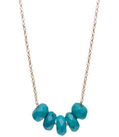 Viv & Ingrid Stone Abacus Necklace in Gold & Turquoise: Already one of our bestselling necklace collections, the Abacus takes on a fresh new look with faceted stone slider beads.