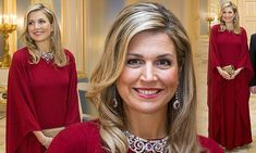 Queen Maxima, 45, and her husband, King Willem-Alexander, hosted German president Joachim Gauck and his partner at the Noordeinde Palace in the Hague on Monday night.