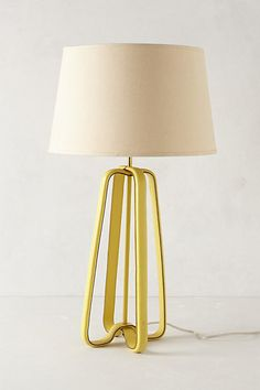 "Saddle Strap 23"" H leather lamp base in Yellow    #anthropologie"