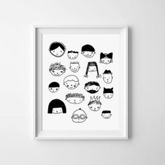 Illustration FACES printable Black and White by MiniLearners