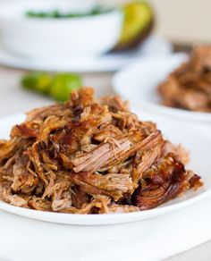 EASY CROCKPOT CARNITAS:  4-5 lbs. pork shoulder  5 cloves garlic  1 tablespoon salt  1 teaspoon cumin  1 teaspoon chili powder  1 teaspoon black pepper  1 teaspoon oregano  ¼ teaspoon cinnamon  ½ teaspoon cayenne pepper  1 tablespoon chipotle hot sauce (optional)  juice of 2 limes  ½ cup orange juice  12 ounces beer  ½ cup salsa (I like to use a less chunky one)