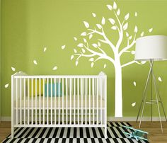Tree and blowing leaves vinyl wall decal set, Nursery Room Tree Decal, Kids Room Tree Wall Decal, Tree and leaves wall sticker set Childrens Wall Decals, Kids Wall Murals, Nursery Wall Decals, Nursery Room, Vinyl Wall Decals, Bedroom Wall, Wall Sticker, Kids Bedroom, Tree Decals