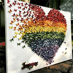 Butterflies heart| Canvas  Wall Art |3D Rainbow Heart wall art decor| paper art