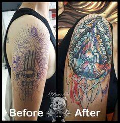 Cover up with Mandala watercolor tattoo done at Mason's Ink Kuta www.masonsink.com