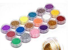 18 cores / set Nail Art acrílico Glitter Nail Art Tool Kit acrílico UV pó poeira gem polonês ferramentas unhas, Nail Art decoração dica alishoppbrasil