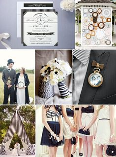 Black and white vintage...love the bridesmaids dresses