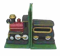 Cast Iron Train Bookend CI-TRAIN-BE by D. Lawless Hardware. $7.75. These Cast Iron Fanciful Train bookends are quite attractive and would look fine on any shelf. Bright colors command attention from anyone who sees it. For the Train enthusiast or for the kid's room you can't go wrong buying this item. Each bookend is 5 5/8 inches tall 4 ¾ inches wide and 4 inches deep. Both bookends together weigh 8 pounds. That will hold some books! Makes a great gift for young and old.