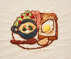breakfast . #刺繍 #手刺繍#embroidery #broderie#자수#朝ごはん#breakfast#petit déjeuner#Stitching