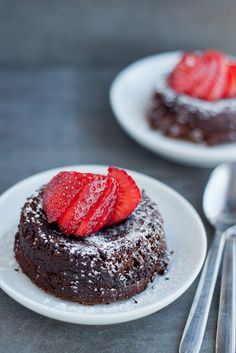 """They call it """"Individual Fallen Chocolate Cakes for Two"""" but I assume they mean """"Two Fallen Chocolate Cakes for an Individual Portion"""". Yay lava cakes."""