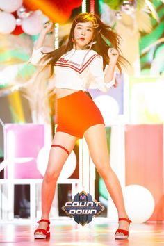 Seulgi Red velvet M-Countdown \\ Hafi Kpop Girl Groups, Korean Girl Groups, Kpop Girls, South Korean Girls, Park Sooyoung, Stage Outfits, Kpop Outfits, Irene, Red Velvet Seulgi