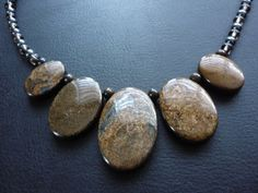 Bronzite stone necklace. Oval polished by ImagineJewellery on Etsy