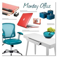 """Office on Monday"" by asteroid467 ❤ liked on Polyvore featuring interior, interiors, interior design, home, home decor, interior decorating, Office Star, Speck, Moleskine and Dot & Bo"