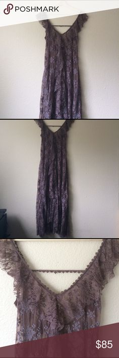 NWOT Free People Maxi Dress Slip Super rad cool brown color. Never worn! Scoops low in the back, with lace that runs across the shoulder blades, to keep the straps on. The dress comes up in the front center a wee bit. See through with embroidered geometric design. Fits 4-6 Free People Dresses Maxi