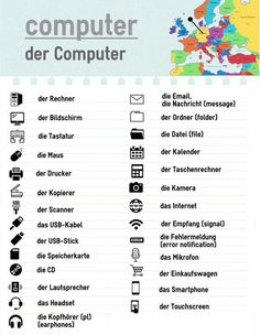 German - the computer and tech Study German, German English, Learn German, Learn English, Learn French, German Grammar, German Words, Deutsch Language, Learning Languages Tips