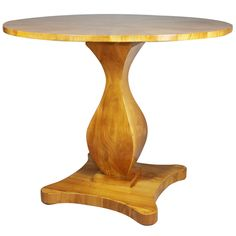 1stdibs - Biedermeier Fruitwood Center Table CIRCULAR STARBURST HINGED TOP OVER A SHAPED SQUARE SECTION SUPPORT,ON A SHAPED SQUARE BASE