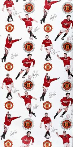 Wallpaper produced for Manchester United Football Club, colour machine print. © Victoria and Albert Museum, London Team Wallpaper, Football Wallpaper, Dog Wallpaper, Manchester United Wallpapers Iphone, Manchester United Club, Premier League, Man Utd Fc, Eric Cantona, Good Soccer Players
