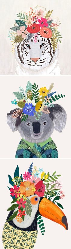 Animal wearing flower crowns illustrated by mia charo watercolor animals, crown illustration, flower crowns Crown Illustration, Flower Art, Flower Crowns, Flower Crown Drawing, Drawing Flowers, Crown Art, Watercolor Animals, Floral Illustrations, Animal Drawings