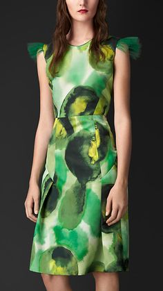 Käfergrün Shiftkleid aus Seide und Baumwolle mit Blumenmotiv - Bild 1