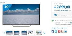 "Smart TV LED 49"" Sony 4K Ultra HD KD-49X7005D Android TV Wi-Fi 4 HDMI 3 USB 49"" << R$ 289900 em 10 vezes >>"