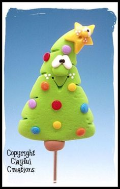 Becky's Polymer Clay  Christmas Tree CAKE por clayfulcreations by vino0001