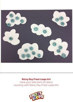 Count away the rainy day blues with your child with Rainy Day Froot Loops Art.  Have them place blue Froot Loops on the rain drops in each cloud, counting aloud as they do.
